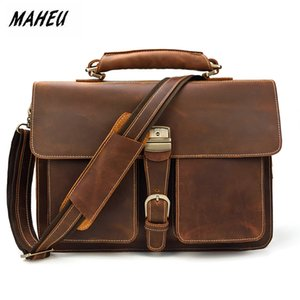 мужские портфели оптовых-MAHEU Designer Business Man Brief Case Crazy Horse PC Laptop Bags Soft Leather Official Messenger Bag For Men With Handle