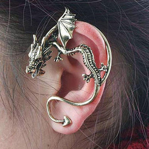 aretes de oreja de dragón al por mayor-Orejas Cuffing Retro Vintage Silver Bronce Punk Tentación Dragon Bite Ear Cuff Clip Clip Wrap Earring Cip On Earrings