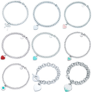 Wholesale original gifts for women for sale - Group buy 100 Sterling Silver Original Tiff Heart Shaped Pendant Bracelet Jewelry Charm Brand Design For Women Logo Fine Jewelry Gift