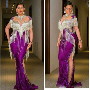 Purple Tassel Mermaid Evening Dresses Side Transparent Appliques Beaded Special Occasion Dress Plus Size Evening Party Gowns on Sale