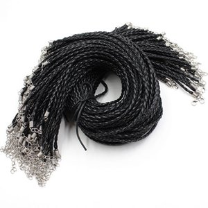 Wholesale cord string Inch Adjustable Black Necklace Braided PU Leather Rope Cord String mm For DIY Jewelry Making K03586