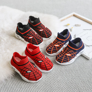 Spider Chivalrous Children Toddler Girls Fashion Shoes Sneakers Catamite Fly Fabric Light Run Shoe Girl One Pedal Socks Shoe on Sale