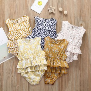 Wholesale Summer Baby Girls Rompers Flower Printed Sleeveless Rompers for New Born Baby Girl Children Clothes Jumpsuits