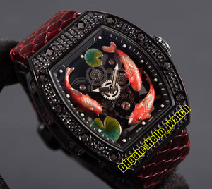ingrosso guarda l'acqua automatica-Top Edition New RM57 Miyota Automatic Mens Guarda Scheletro D Pesce Playing Water Lotus Leaf Quadrante Diamond Diamond Black Case Red in pelle orologi