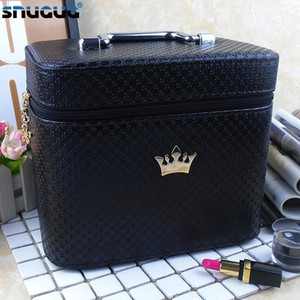 Wholesale Women Noble Crown Big Capacity Professional Makeup Case Organizer High Quality Cosmetic Bag Portable Brush Storage Box Suitcase J190614