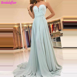 Sexy Backless Sweetheart A Line Chiffon Long Mint Green Prom Dresses 2019 Lace Vintage Evening Dress Court Train Vestido De Gala