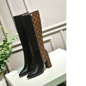 Women long boots Boots temperament stitching print boots EUR size 35-40 WSJ049 Letter elements decorative retro comfortable high heelsx6