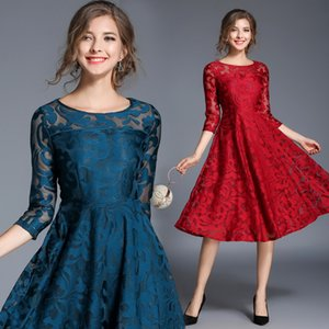 Wholesale Autumn and winter dress Europe and America large size women s seven point sleeves Slim thin long lace new fashion women s clothing