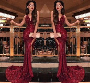 2019 Burgundy V Neck Sequins Mermaid Prom Dresses Sexy High Slits Vestidos De Fiesta Sweep Train Formal Long Evening Party Prom Gowns BC0866 on Sale