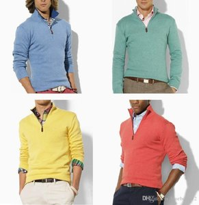 Wholesale Men Luxury Knit 11 Colors Zipper Stand Collar Slim Jumpers Embroidered Long Sleeve Branded S Vogue