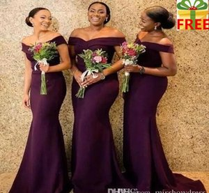 Wholesale 2020 Regency Off The Shoulder Satin Long Bridesmaid Dresses Ruched Sweep Train Wedding Guest Maid Of Honor Dresses With Free Gifts BC1288