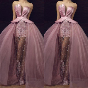 Arabic Pink Evening Dresses 2020 Elegant Formal Party Gowns vestido de festa longo Strapless robe de soiree Lace Applique Tulle Prom Dress on Sale