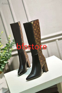 Women long boots Boots temperament stitching print boots EUR size 35-40 WSJ049 Letter elements decorative retro comfortable high hococal