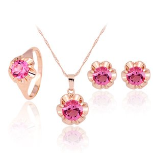 HC Vintage Crystal Jewelry Set Luxury Rose Gold Bridal Wedding Jewelry Fashion Flower Design Girl Kid Children Jewelry Sets Tgift