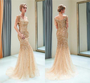Wholesale Shinny Gold Sequined Mermaid Prom Dresses Cheap Mermaid Tassels Evening Gown Formal Party Pageant Dresses 2223
