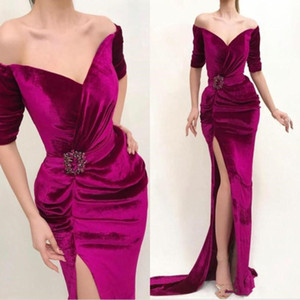 Wholesale Fuchsia Velvet Mermaid Prom Dresses 2020 Plus Off Shoulder Half Sleeves Pleats Side Split Evening Dress With Sash Beads Party robe de soiree