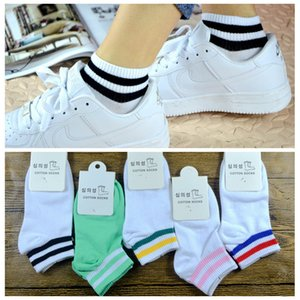 Wholesale Korean college style two bar pure cotton women socks spring summer autumn cotton students white two bar boat socks women socks