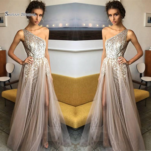 Wholesale 2019 One Shoulder A line Sequined Prom Dresses Tulle Evening Wear In Hot Sales High end Occasion Dress