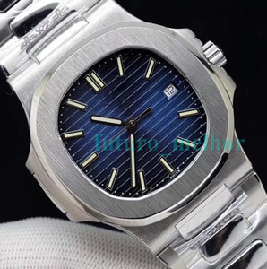 Wholesale 2019 Top Mens Designer Luxury Watch Nautilus Blue Dial Automatic Mechanical Stainless Steel Transparent Back Men Watches Male Wrist watch