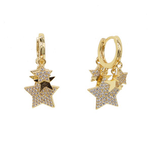 Wholesale Ladies Gold silver plated Small Hoop Earrings With cz star lovely Charm Pendant Women s Minimalist Fashion Hoop Earrings