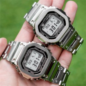 Wholesale Top Sale Mens New Arrival Waterproof Watches Stainless Steel Silver Gold Digital LED Wristwatches Autolight Leisure Sports Clock Watch