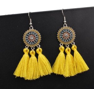 Wholesale 2019 Gifts Hot Colors Trendy Ethnic Bohemian Tassel Earrings For Women Handmade Jewelry Colorful Big Hoop Statement Earrings For Girl