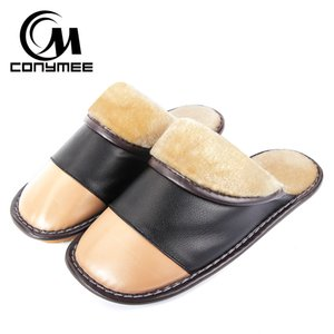 Wholesale CONYMEE Home Slippers Men Winter Genuine Leather Indoor Floor Flat Shoes Casual Sneakers For Home Mens Warm Plush Slipper
