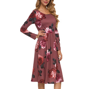 2017 Women Spring Autumn Floral Boho Beach Dress Loose Printed Long Sleeve Bohemian Dress O Neck Short Mini Dresses