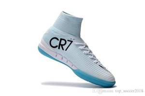 Wholesale Blue White Original CR7 Soccer Cleats Mercurial Superfly IC Indoor Soccer Shoes Cristiano Ronaldo Mens Football Boots