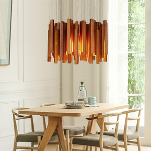 Wholesale Solid wood modern pendant light Chinese Nordic creative minimalist living room dining wood ball wooden stick chandelier pendant lamp