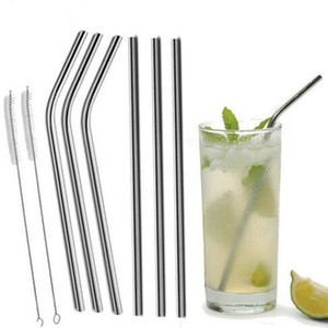 Wholesale Stainless Steel Straw and brush Reusable Bend and Straight Metal 10.5 and 8.5 inch Extra Long Stainless Steel Straw Drinking Straws