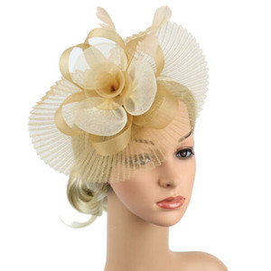 ascot real venda por atacado-FAROOT Mulheres raça Pena flor Fascinator Headband Hat Prom Wedding Day Royal Ascot chapéus do partido