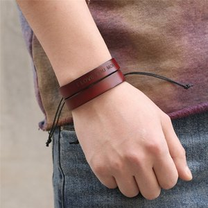 Wholesale QINUO Classic Designer Red Letter Bracelet Personality Trend Leather POP Adjustable Rope Wristband Luxury Couple Memorial Bracelet