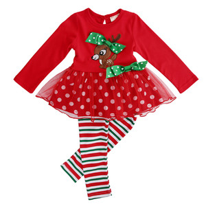 ingrosso giacche rosse tutu-Festa di Natale della neonata del capretto Imposta Cute Animals Red Top Pois Dress Stripe Leggings Festival Xmas Party Tutu del vestito