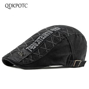 Wholesale QDKPOTC Spring Summer Cotton Berets Fashion England Retro Hat Leisure Travel Truck Driver Cap Adjustable Duck Tongue Hats