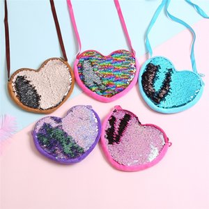 Wholesale 2019 New Fashion Sequins Heart shaped Small Coin Purse Children Kid Cute Shoulder Bag Girl Summer Bag Wallet