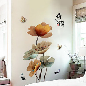 Wholesale DIY Lotus Vintage Poster Vinyl Wall Sticker Chinese Style Flower Living Room Bathroom Wall Decor Mural self adhesive wallpaper D19010902