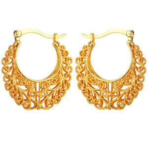 Wholesale Newest Trendy Hoop K Real Gold Plated Copper Vintage Hoop Earrings For Women Fashion Jewelry Basketball Wives Earrings E360