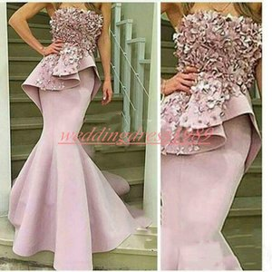 Elegance Arabic Mermaid Peplum Evening Dresses Satin Plus Size Strapsless Handmade Flower Formal Party Wear Pageant Prom Gowns Occasion on Sale