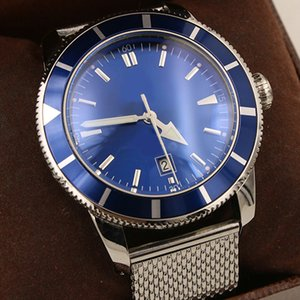 2019 New Style Chronometer Automatic Mens Wristwatch Calendar Blue Face Watch Men Big Diamond Bezel Full Gold Belt Mens Watches