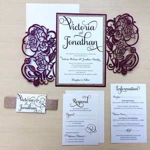 Wholesale Luxury Burgundy Laser Cut Gatefold Wedding Invitation with Glitter Button Card and Belt and Tag Invitation Cards for Bridal Shower