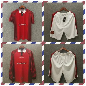 Retro soccer jersey MU 1996 98 man utd football jerseys beckham cantona giggs Solskjaer manchester long sleeve shorts camisa de futebol