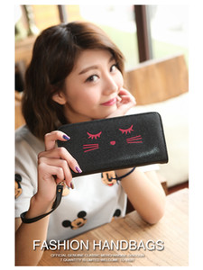 Wholesale Fashion New Hot Sale Handbag Exquisite Embroidered Blinking Cat Wallet Zipper with Wrist Strap Small Girl Clutch
