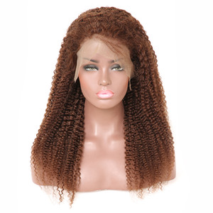Wholesale Light Brown Afro Kinky Curly Short Hair Wigs Full Lace Human Hair Wigs For Black Women Brazilian Virgin Curly Human Hair Wig