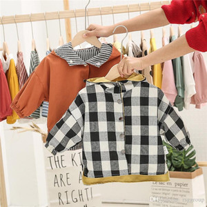 Autumn INS Spring Kids Boys Girls AB Wear Coat Stripes Hooded Tops Outwear Children Boys Plaid Front Buttons Fall Long Sleeve Child Clothes
