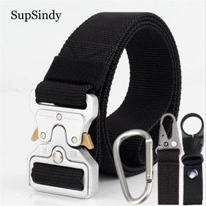 Wholesale SupSindy Men canvas belt Quick release Metal buckle nylon Training belt Army cobra tactical belts for Jeans male strap