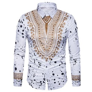 Wholesale Fashion Traditional African Dashiki Men Shirt Long Sleeve Slim Fit Casual Mens Dress Shirts Camisas Masculinas