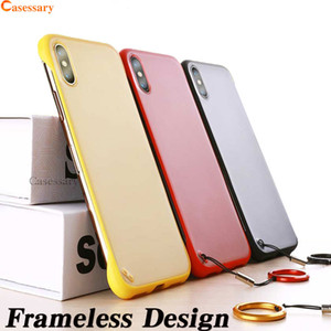 Wholesale Frameless Phone Case Cover Ultra Thin Transparent Cellphone Cases with Lanyard and Finger Ring for iPhone XR XS MAX Plus