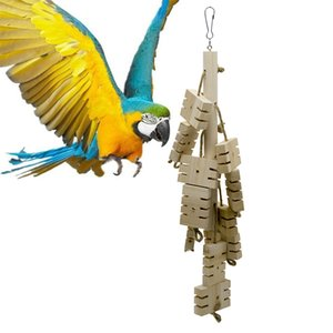 Wholesale Parrot Toys Bird Toys Jade Font Nibbling String Slotting Wood Gnawing String Parrot Exceed Love Gnawing A Wooden String