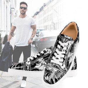 Excellent White&Black Graffiti Patent Leather Sneakers High Quality Women Men Leisure Flats Red Bottom Shoes Dress Evening Outdoor Casual